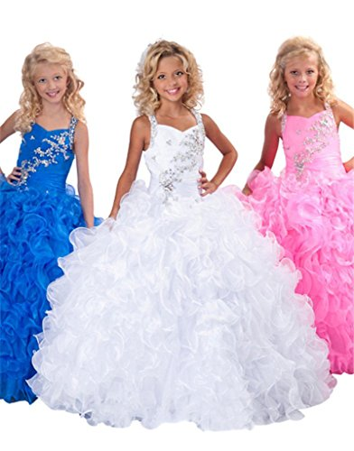 Pinkmerry Ball Gown Halter Beads Flower Girls Pageant Dresses Royal Blue 10 by Pinkmerry