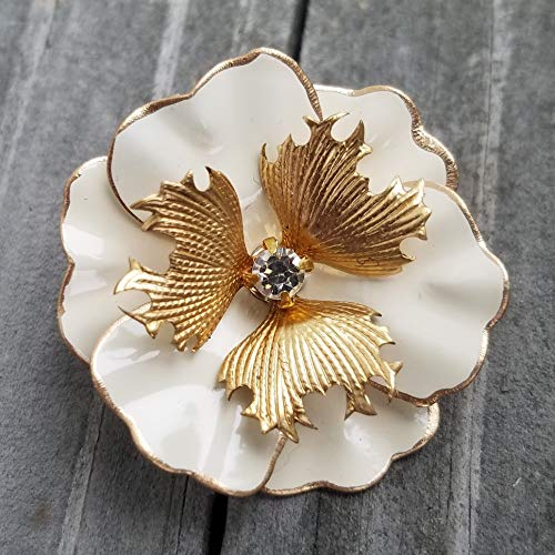 Small Enamel Flower Pin Ivory and Gold Tone