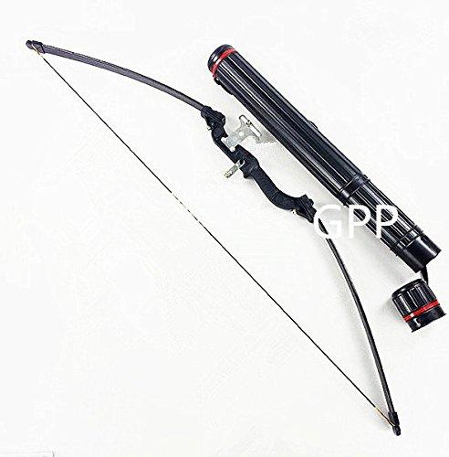 GPP® 40 lbs Take down Straight Bow Hunting Long Bow Recurve Bow Fiberglass Limb Foldable Aluminum Handle (Limb Quiver)