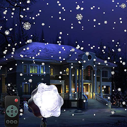 EFGS LED Christmas Decoration Lights, White Snowflake Rotating Snowfall Projector IP65 Waterproof, Indoor and Outdoor Landscape Light Garden Wall Birthday Party Stage Decoration Lighting