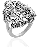18K White Gold Plated Elegant Crystal Ring Luxury Jewelry Gift CZ Rhinestone LOVE STORY (9#)