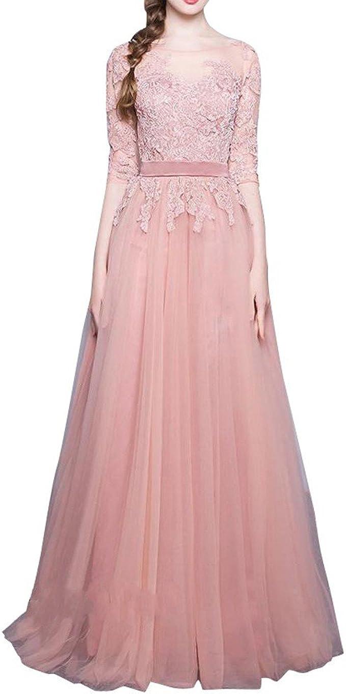 Royaldress Elegant Rosa Langarm Spitze Promkleider Abiballkleider