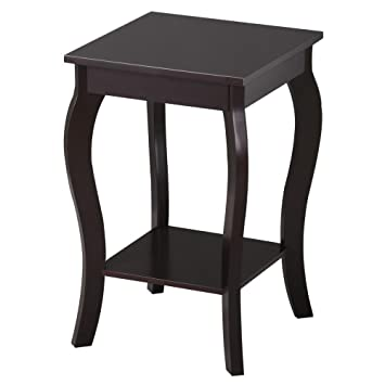 go2buy Wood Curved Legs Accent Side End Table w/Lower Shelf Espresso Finished
