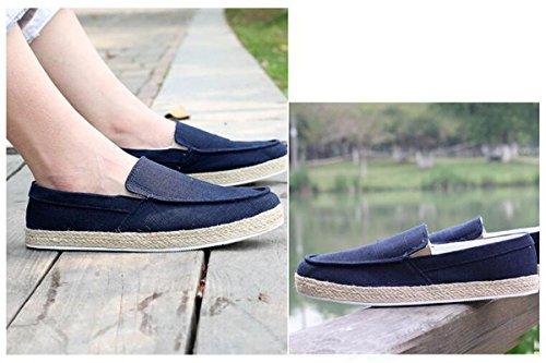 Beauqueen Zapatillas de deporte de lino del hombre Lona-ons Ligero que conduce ocasional Suave suave respirable Zapatos ocasionales UE tamaño 39-44 Blue