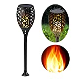 Eleoption Solar Garden Lights Outdoor Stakes Warm White Flickering LED Tiki Fire Torches Dusk to Dawn Auto On/Off for Pathway Christmas Outdoor Decoration etc (1 Pack)