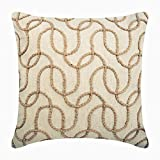 "Designer Ecru Shams, Jute Lattice Trellis Pillow Shams, 24""x24"" Pillow Sham, Square Cotton Linen Shams, Contemporary Pillow Shams - Jute Shoot"