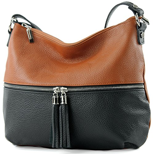 modamoda bag Leather Schwarz de ital Cognac bag Leather Shoulder Leather bag T159 r7TrZwaBqx