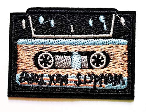 Black Cassette Tape Audio Music Boombox Tape Deck 80's 90's Cartoon Iron on Patch Handmade Fashion Embroidery for Clothing Polo T- Shirt Jackets Hat Backpacks or Birthday ()
