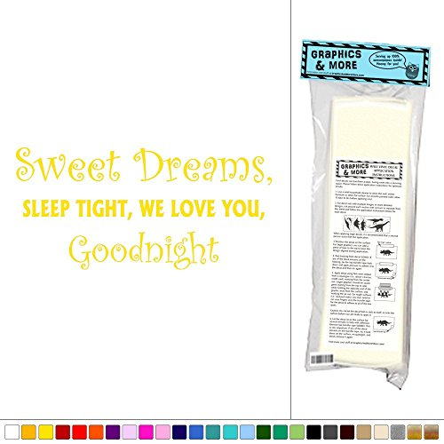 Graphics and More Sweet Dreams, Sleep Tight, We Love You, Good Night - Kids Baby Room - Vinyl Sticker Decal Wall Art Decor - Yellow (Live Laugh Love Paint Stencil)