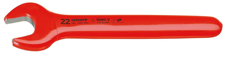 VDE isoliert bis 1000 V 15 mm Maulstellung 15/° nach EN 60900//IEC 60900 2-fach Check-Tool Isolierung ergonomisch handlich exakt geschliffenens Nennma/ß GEDORE VDE 894 15 VDE-Einmaulschl/üssel