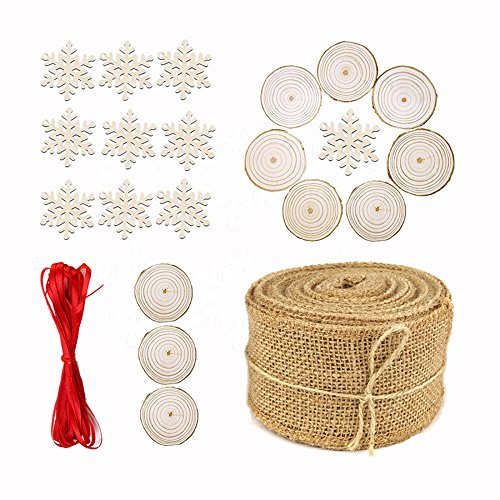 Rustic Christmas Tree Burlap Roll Unfinished Natural Wood Slices Circles Wooden Snowflake Christmas Tree Decor Hanging Ornaments Pendants Set(10 meter burlap+10 snowflakes+10 circles+5 meter - Rustic Wood Painted