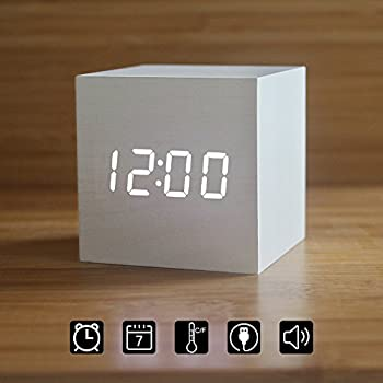 Wood Alarm Clock Digital LED Light Minimalist Mini Cube With Date And  Temperature For Travel Kids
