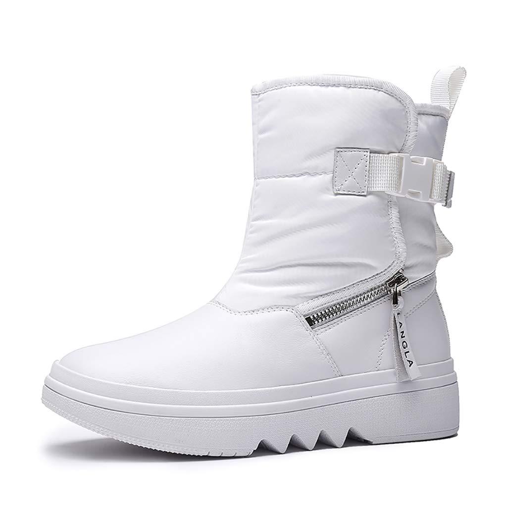 YUBIN Damen Winter Outdoor Sports Plus Samt Zum Warmhalten Rutschfeste Schneestiefel, Weiß, Schwarz (Farbe   Weiß, größe   EU 39 US 7 UK 6 JP 24.5cm)