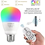 LED Light Bulb Phwii Color Changing Dimmable 9 Watt 2.4G Wireless Remote Control Smart Bulbs Adjustable E26