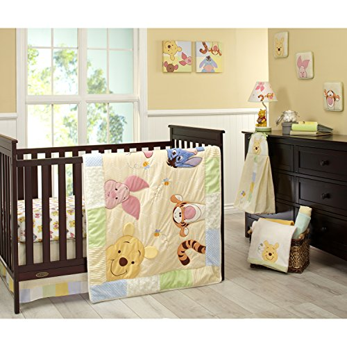 Disney Winnie the Pooh Peeking Pooh 7 Piece Nursery Crib Bedding Set – Appliqued/Textured Quilt, 2 100% Cotton Fitted Crib Sheets, Crib Skirt with 16″ Drop, 3 Soft Wall Hangings