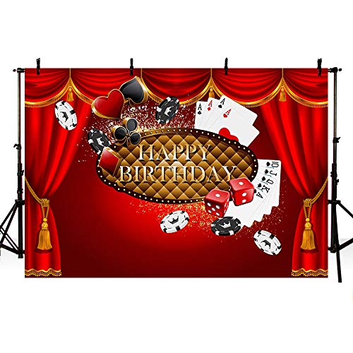 MEHOFOTO 8x6ft Casino Themed Red Curtain Adult Happy Birthday Party Photo Studio Backgrounds Banner Poker Card Dice Backdrops for Photography