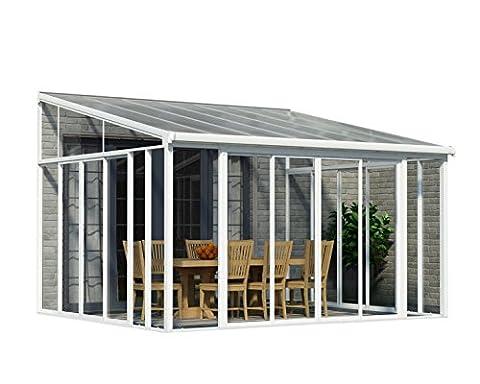 Palram SanRemo Patio Enclosure, 14'L x 13'W x 7'H, White (Screen Porch Systems)