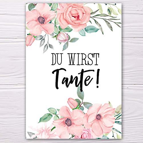 """A6 Postkarte""""Du wirst Tante!"""" in altrosa Glanzoptik Papierstärke 235g/m2 Geschenk Schwester-Schwägerin"""