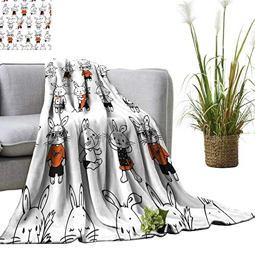 YOYI Comfortable Blanket Retro Bunny Rabbits Costum Hare Funky Bunni Carrot Sketch Style Cozy Hypoallergenic 70