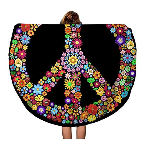 Pinbeam Beach Towel Colorful Sign Peace Symbol Groovy Flowers Woodstock Psychedelic Travel 60 inches Round Tapestry Beach Blanket