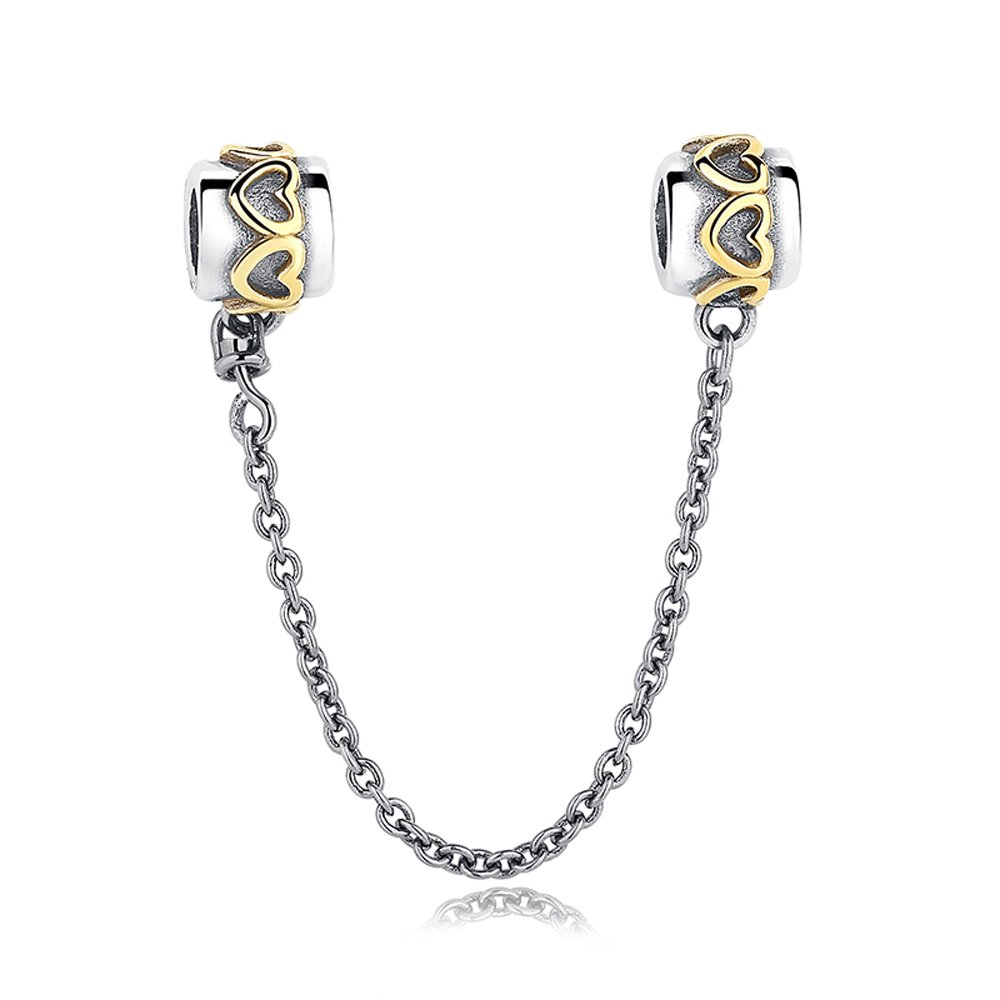 Soulove Golden Love Connection Safety Chain925 Sterling Silver Bead for Snake Chain Charm Bracelet SLYZYPA203