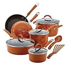 Rachael Ray Cucina Hard Enamel Nonstick 12-piece Cookware Set (Pumpkin Orange) by Rachael Ray