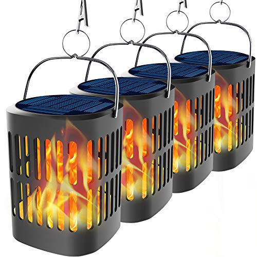 Bebrant Solar Lanterns Solar Powered and USB Charging Flickering Flames Solar Lights Outdoor Hanging Lanterns Waterproof Landscape Decoration Lighting Dusk to Dawn Auto On/Off for Halloween(4 Pack)