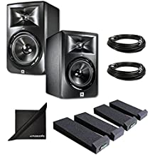 JBL LSR305 5-inch Two-Way Powered Studio Monitors (PAIR) with AxcessAbles Studio Cables, Isolation Pads and eStudioStar Polishing Cloth