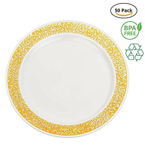 Party Joy 'I Can't Believe It's Plastic' 50-Piece Plastic Dinner Plate Set | Lace Collection | Heavy Duty Premium Plastic Plates for Wedding, Parties, Camping & More (White w/ Gold Lace)