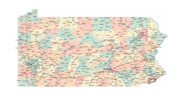 Amazon.com: PENNSYLVANIA STATE ROAD MAP GLOSSY POSTER ...