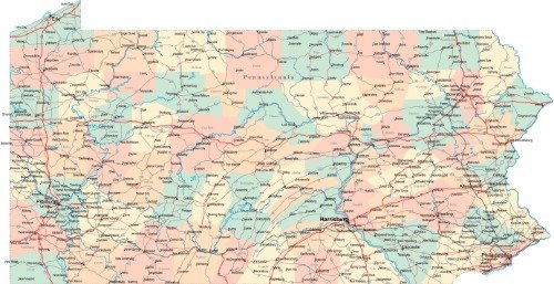- PENNSYLVANIA STATE ROAD MAP GLOSSY POSTER PICTURE PHOTO city county pa