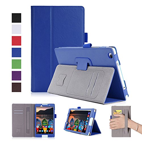 (AICEDA Lenovo Tab 2 A8-50 Case, Wallet Case, Protector Premium PU Leather Flip Case Cover with Card Slots & Kickstand for Lenovo Tab 2 A8-50 - Blue)