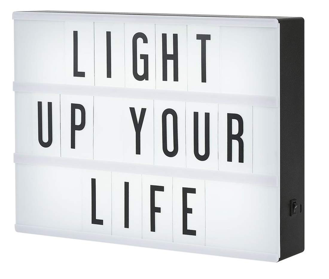 Light Up Cinema Light Box A4 Aize with 96 Letters LED Light DIY Message Box Battery/USB Powered (Light box with 96 Symbols) Moobom