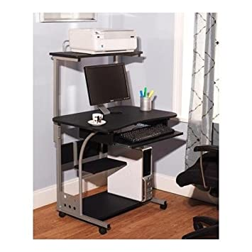 Mobile Computer Tower with Shelf, Multiple Finishes,black