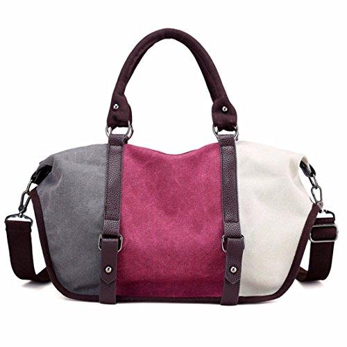 Hit color de lienzo cosido señoras bolso bolsa de gran capacidad de ocio Bolso Bolso salvajes, vino rojo