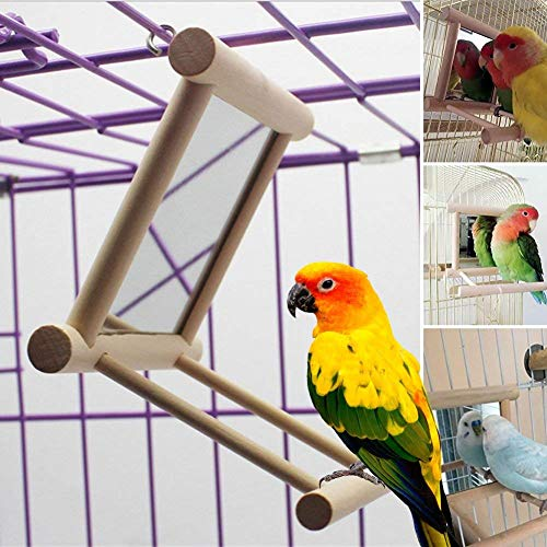 Wooden Bird Swing (Blessed family Birds Toy for Cage,Parrot Hanging Swing with Mirror,Natural Wooden Play Toys, Pet Bird Cage Accessories with Metal Hook)