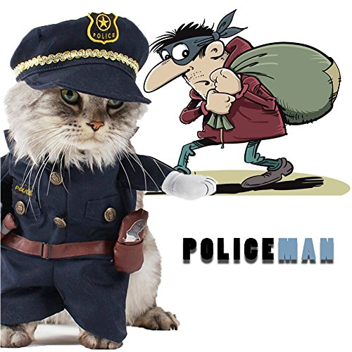 Delifur Cat Policeman Costumes Pet Costume Dog Carry Clothes with Hat Halloween Spooky Night Suits for Small Dog Cat Puppy by (NO.3) ()
