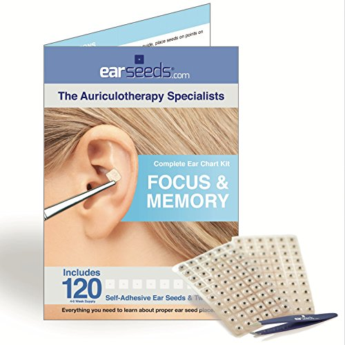 Memory Ear Seed Kit- 120 Vaccaria Ear Seeds, Stainless Steel Tweezer (Stimulation Of Auricular Acupuncture Points In Weight Loss)