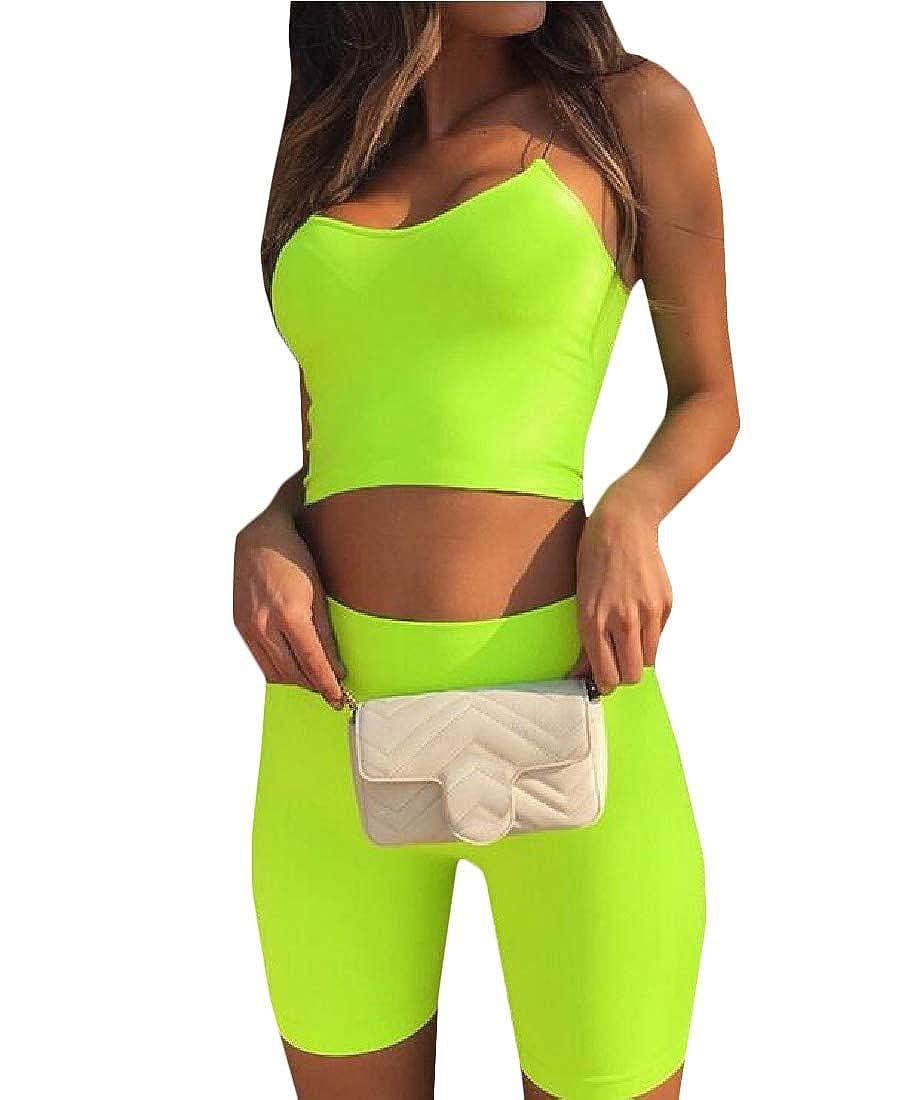 Etecredpow Womens Spaghetti Strap Skinny Crop Tank Top Mini Shorts Tracksuit Sets