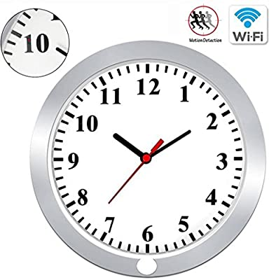 KAMRE WI-FI Spy Camera Clock 1080P Hidden Camera Wall Clock Nanny Spy Recorder Motion Detection Security Real-time Video Remote View Support IOS/Android/Wins/MAC from KAMRE