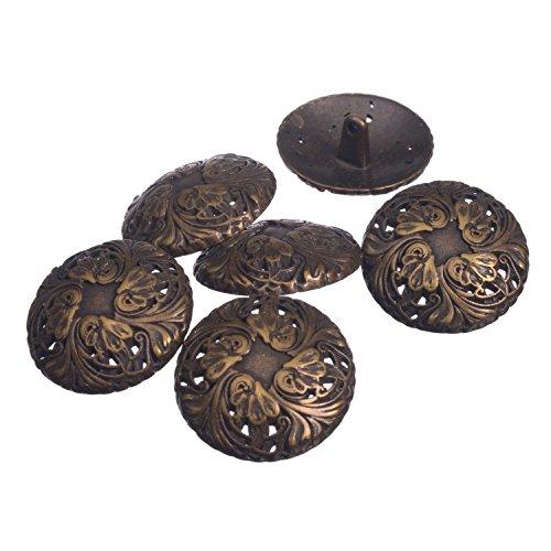 Pinback Button Vintage - Zinc Diecasted Metal Shank Button - Renaissance Floral Pattern - 44 Line - Antique Brass