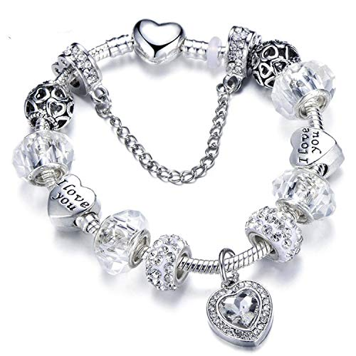 two 925 Fashion Silver Charms Bracelet Bangle for Women Crystal Flower Beads Fit Brand Bracelets Jewelry,AD0724,20cm