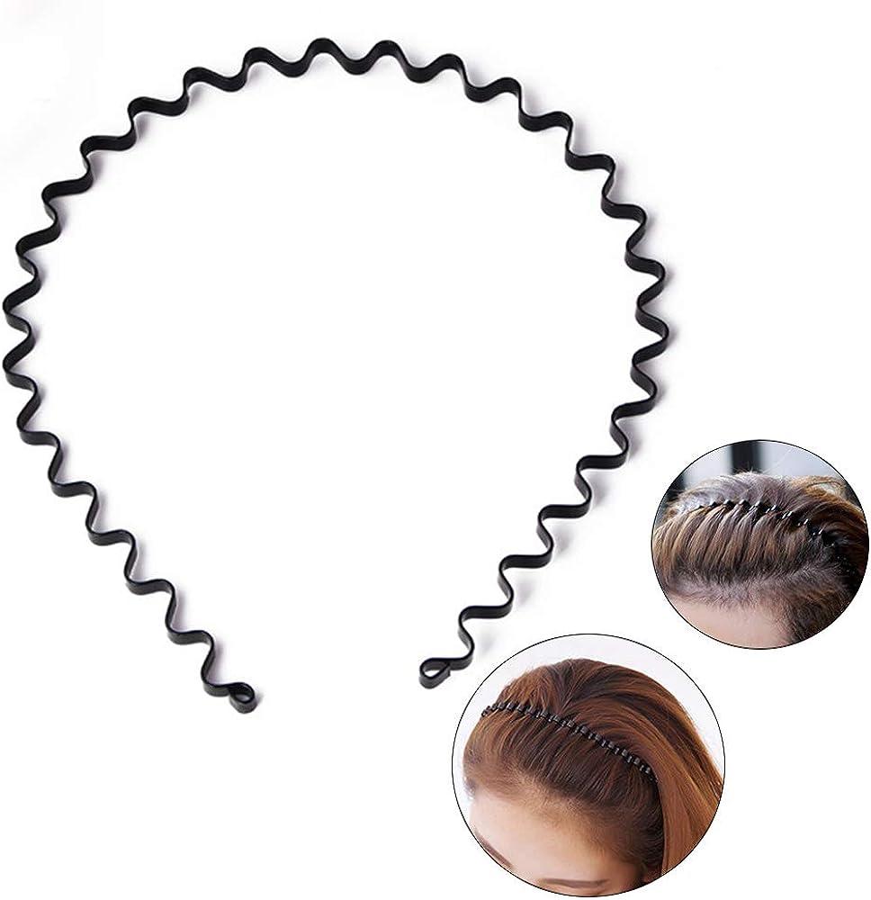 Unisex Black Wavy Hair Head Band Hoop Band Sport Metal Hairband Hair Accessories
