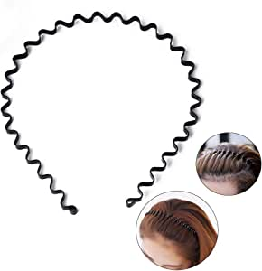 S SIFUNUO Unisex-Adult S SIFUNUO Unisex Black Spring Wavy Metal Hair Hoop Band Men Women Sports Headband Headwear Accessories LDY003, Black