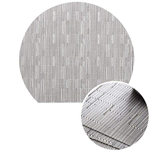 Table Mats Set of 6, Woven Placemats Bamboo Pattern, Heat-Resistant Half-Round Table Placemats, Stain Resistant Anti-Skid Washable PVC Table Mats for Kitchen Home Hotel Outdoor (Silver ()
