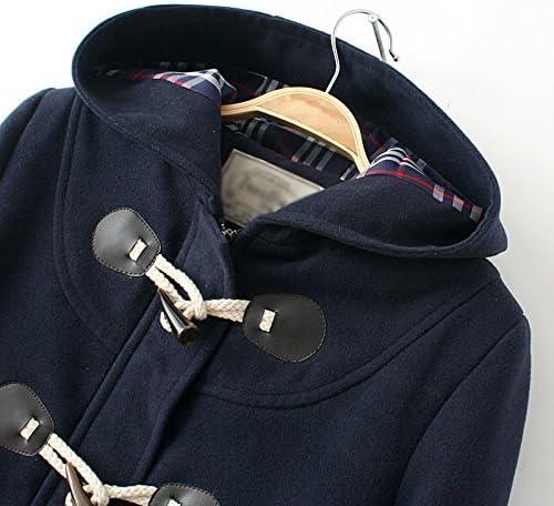 WSLCN Classic Duffle Coat Woolen Fleece Women Trench Coat Hooded Winter Casual Outerwear Hoodie Horn Buttons Peacoat Pockets Thick Coat Snowsuit