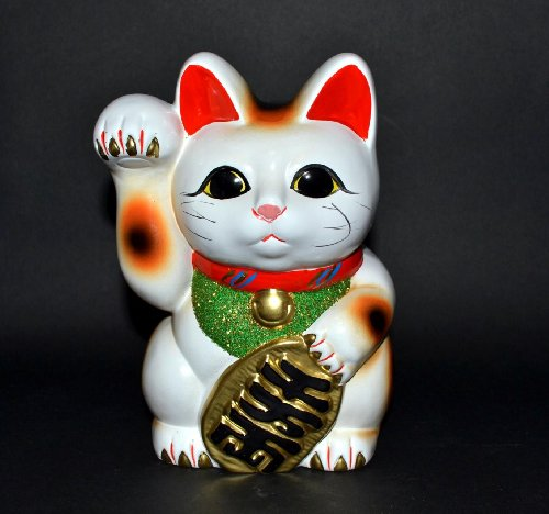 Porcelain Cat (Made in Japan Lucky Cat 7.5'' Tokoname Porcelain White Maneki Neko Right Hand)