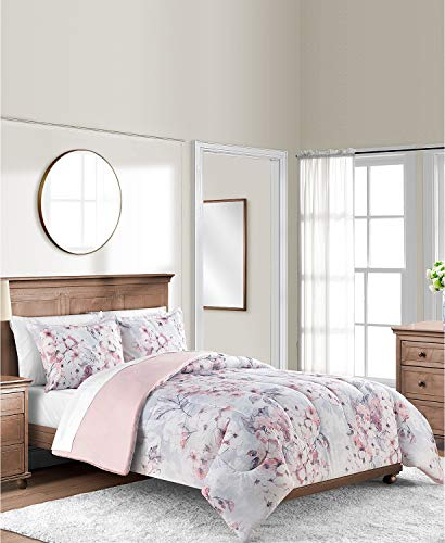 Sunham 3-Piece Pink Blush Gray White Floral Full Queen Comforter Set with 2 Shams Big Flowers