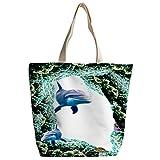 SXCHEN Custom Zipper Canvas Bags Shoulder Bag Handbag Shark Dolphin Coral Marine Animals