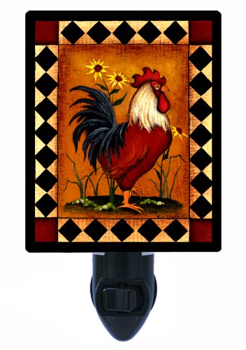 Country Kitchen Night Light - Red (Rooster Light Fixtures)